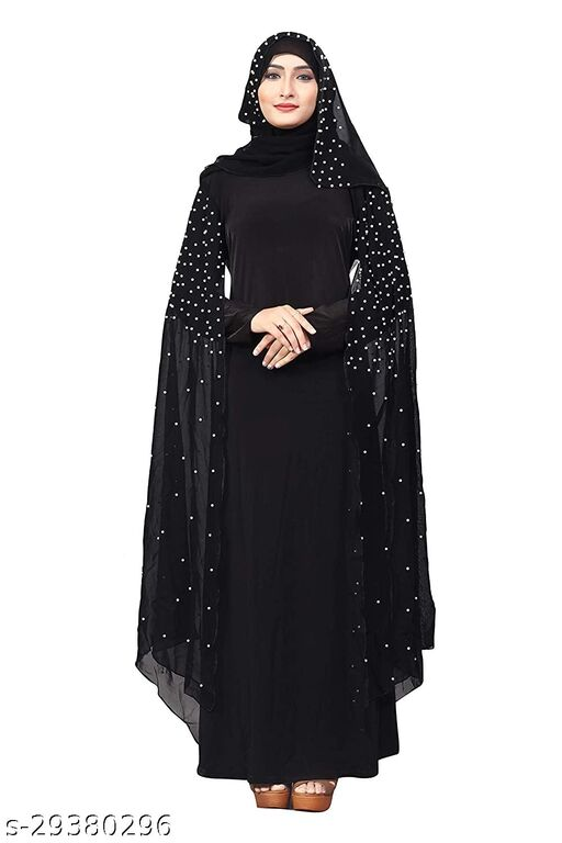 Women's Crystal Lycra Fabric Beads Work Abaya Burqa with Dupatta.