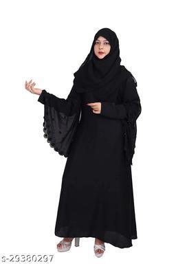 Women's Double Sleeves Soft Nida Fabric Stone work Abaya Burkha with Dupatta and Adjustable Belt.