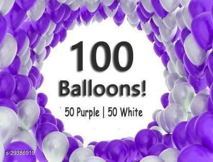 Life long Solid Balloons (50 Purple, 50 White) for Birthday, Anniversary , Festival, Wedding, Engagements Celebration and Party Balloon Balloon (Purple, White, Pack of 100) Balloon  (Purple, White, Pack of 100)