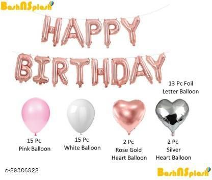 Life long Solid Rose gold Happy Birthday Party Decoration Pack with heart Balloon  (Pink, Gold, White, Pack of 47)