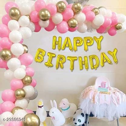 Life long Solid 1 Happy birthday latter foil balloon Pink 20 White 20 gold 10 latex balloon for birthday party decoration Balloon  (Pink, Gold, Pack of 63)