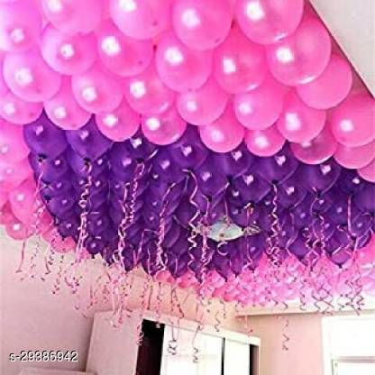 Life long Solid Anniversary Party Decoration (Pink, Purple) Pack of 50 Balloon  (Pink, Purple, Pack of 50)