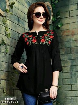 Women's Embroidered Black Rayon Top