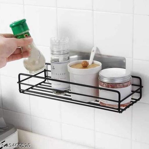 RANDAL FAB Wall Mounted Metal Shower Bathroom Shelf Storage Durable Caddy Organizer Rack with Adhesive Hook (Black, Medium)
