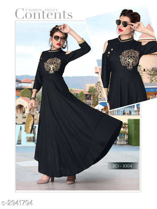 Attractive Rayon Women's Embroidery Work Gown