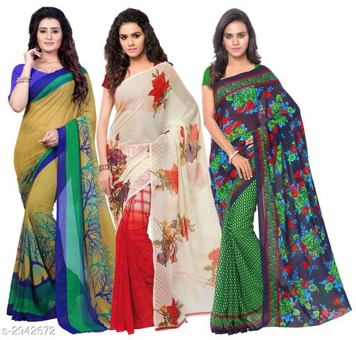 Trendy Georgette Women's Sarees Combo( Pack Of 3 )