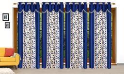 Ruhi Home Furnishing Blue 4U Frill Designer Long Door 9 Feet Curtain Pack of 4