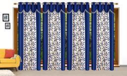 Ruhi Home Furnishing Blue 4U Frill Designer Door 7 Feet Curtain Pack of 4