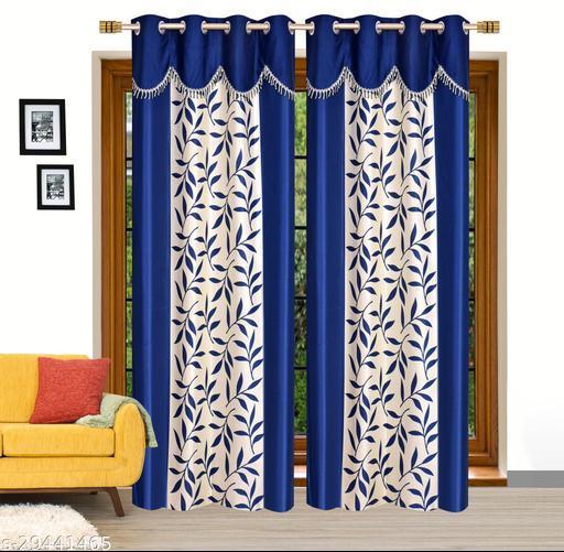 Ruhi Home Furnishing Blue 4U Frill Designer Door 7 Feet Curtain Pack of 2