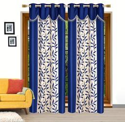 Ruhi Home Furnishing Blue 4U Frill Designer Long Door 9 Feet Curtain Pack of 2