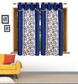 Ruhi Home Furnishing Blue 4U Frill Designer Window 5 Feet Curtain Pack of 2