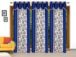 Ruhi Home Furnishing Blue 4U Frill Designer Long Door 9 Feet Curtain Pack of 3