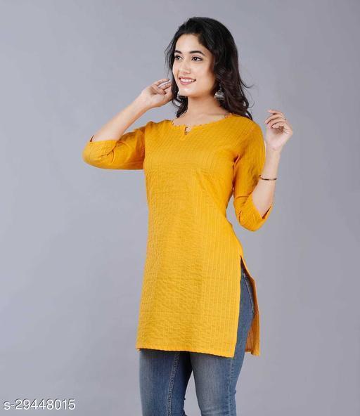 Women Cotton Solid 3/4th Sleeve V-neck Short Kurta-Yellow
