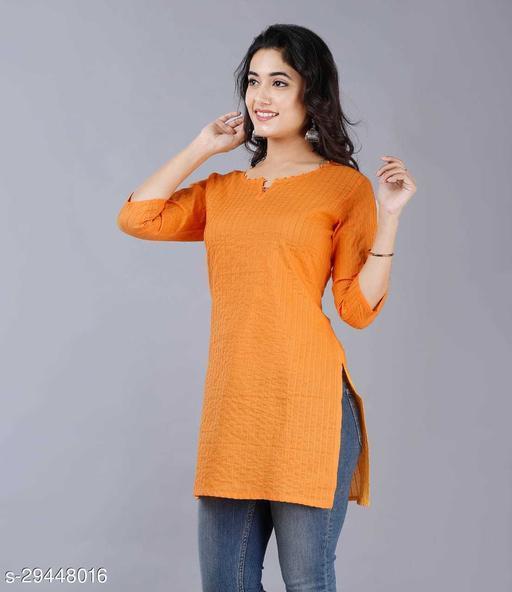 Women Cotton Solid 3/4th Sleeve V-neck Short Kurta-Mustard