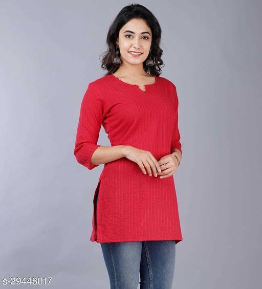 Women Cotton Solid 3/4th Sleeve V-neck Short Kurta-Red
