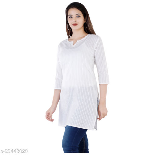 Women Cotton Solid 3/4th Sleeve V-neck Short Kurta-White