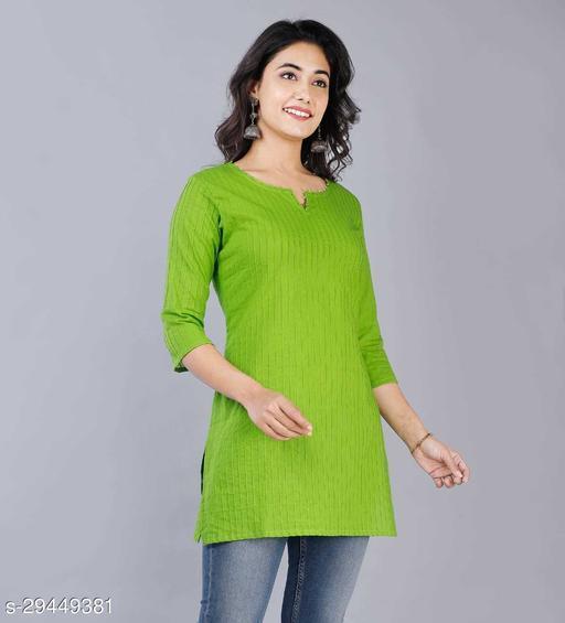 Women Cotton Solid 3/4th Sleeve V-neck Short Kurta-Parrot Green