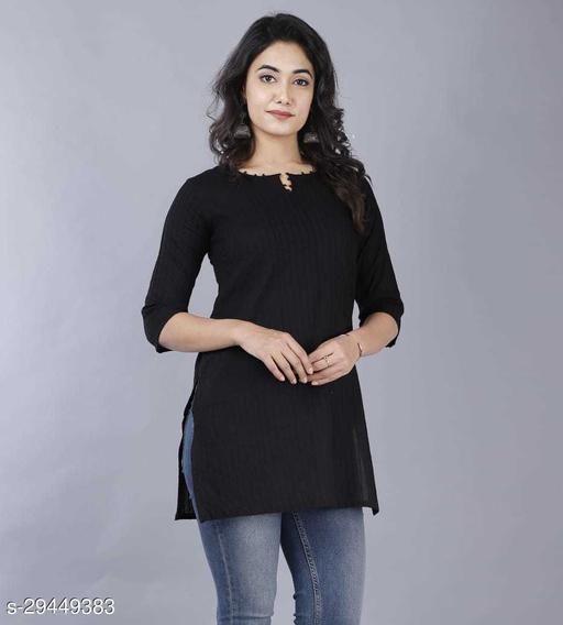Women Cotton Solid 3/4th Sleeve V-neck Short Kurta-Black
