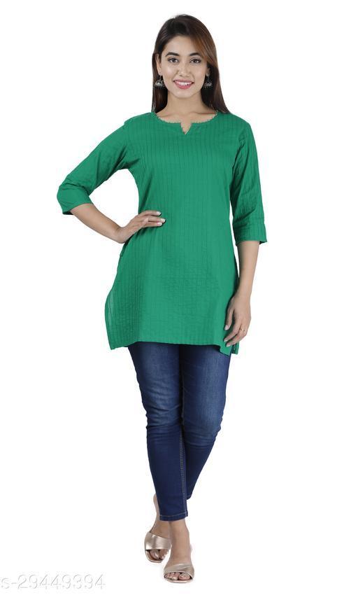 Women Cotton Solid 3/4th Sleeve V-neck Short Kurta-Mint Green