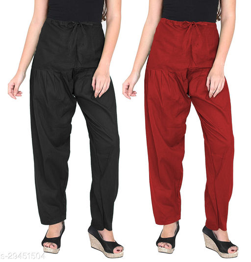 Women's Cotton  Salwar Free Size Set of 2 - BLACK,MAROON