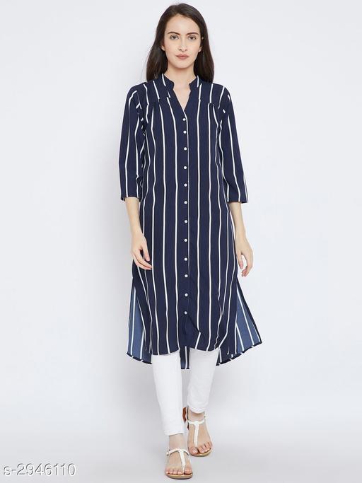 Women's Striped Navy Blue Crepe Top