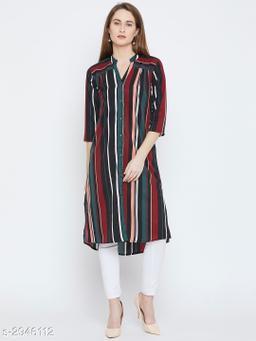 Women's Striped Dark Multicolour Crepe Top