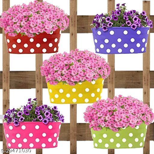 GnS Dotted Hanging Metal Pot Holders |Planters | Gamla for Home| Balcony |Garden | Corrosion Resistant with Detachable Double Hooks | Set of 5