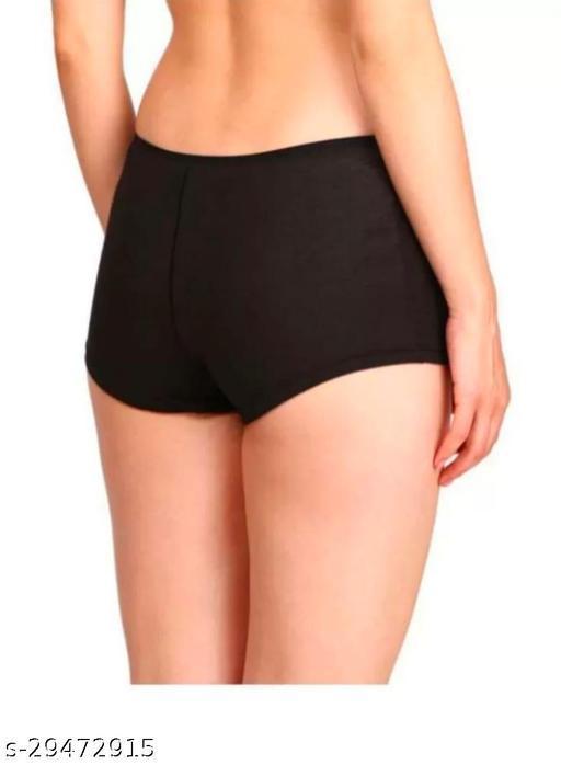 Women Hipster Black Cotton Linen Panty