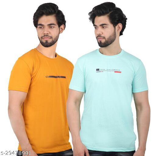 ILOD 100% Cotton Bio Washed Round Neck Printed Men's Tees (Pack of 2)