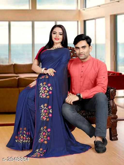 Kurta Sets Fancy Men's Kurta & Saree  *Fabric* Saree - Zoya Silk, Blouse - Mulberry, Kurta - Cotton  *Sleeves(Kurta)* Full Sleeves Are Included  *Size* Saree  - Saree Length - 5.5 Mtr, Blouse Length - 0.8  Mtr, Kurta - M, L, XL, XXL (Refer Size Chart)  *Length(Kurta)* Refer Size Chart  *Type* Shirt -Stitched  *Description* It Has 1 Piece Of Men's Kurta & 1 Piece Of Saree With 1 Piece Of  Blouse  *Work* Kurta - Solid, Saree -  Embroidery  *Sizes Available* Free Size *    Catalog Name: Kashvi Fancy Men's Kurta & Sarees Combo Vol 2 CatalogID_401938 C66-SC1201 Code: 668-2948864-