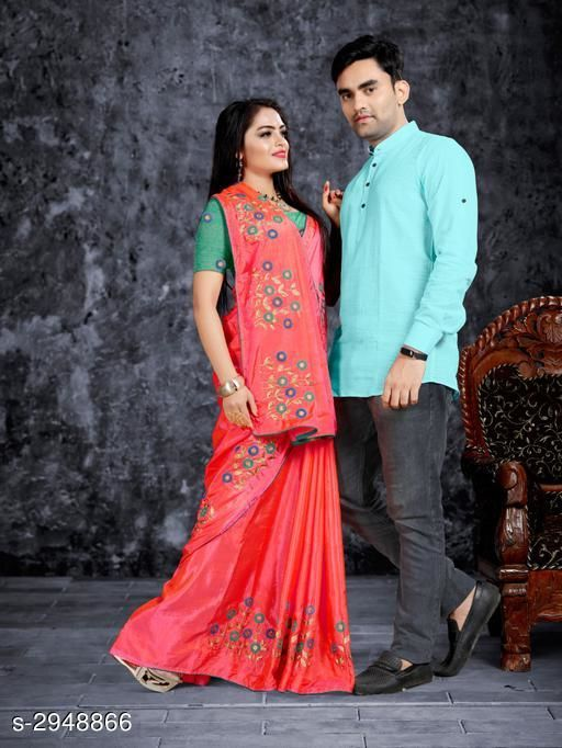 Kurta Sets Fancy Men's Kurta & Saree  *Fabric* Saree - Zoya Silk, Blouse - Mulberry, Kurta - Cotton  *Sleeves(Kurta)* Full Sleeves Are Included  *Size* Saree  - Saree Length - 5.5 Mtr, Blouse Length - 0.8  Mtr, Kurta - M, L, XL, XXL (Refer Size Chart)  *Length(Kurta)* Refer Size Chart  *Type* Shirt -Stitched  *Description* It Has 1 Piece Of Men's Kurta & 1 Piece Of Saree With 1 Piece Of  Blouse  *Work* Kurta - Solid, Saree -  Embroidery  *Sizes Available* Free Size *    Catalog Name: Kashvi Fancy Men's Kurta & Sarees Combo Vol 2 CatalogID_401938 C66-SC1201 Code: 668-2948866-