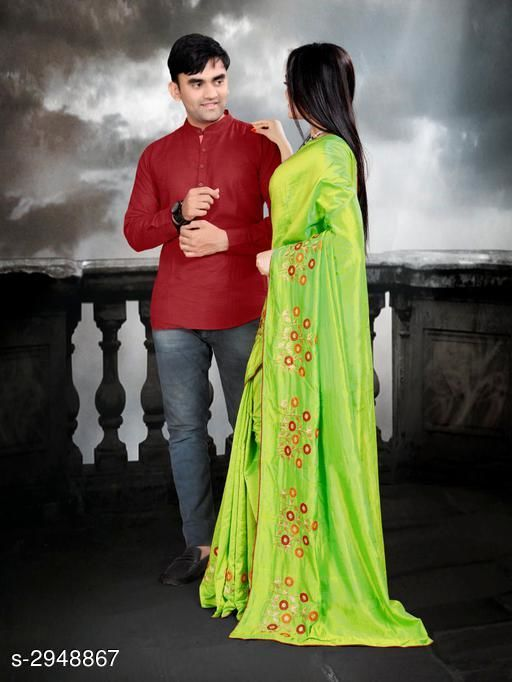 Kurta Sets Fancy Men's Kurta & Saree  *Fabric* Saree - Zoya Silk, Blouse - Mulberry, Kurta - Cotton  *Sleeves(Kurta)* Full Sleeves Are Included  *Size* Saree  - Saree Length - 5.5 Mtr, Blouse Length - 0.8  Mtr, Kurta - M, L, XL, XXL (Refer Size Chart)  *Length(Kurta)* Refer Size Chart  *Type* Shirt -Stitched  *Description* It Has 1 Piece Of Men's Kurta & 1 Piece Of Saree With 1 Piece Of  Blouse  *Work* Kurta - Solid, Saree -  Embroidery  *Sizes Available* Free Size *    Catalog Name: Kashvi Fancy Men's Kurta & Sarees Combo Vol 2 CatalogID_401938 C66-SC1201 Code: 668-2948867-