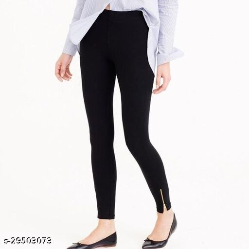 """Workout Wear Legging Fully Stretchable Spandex Blend High Waist-Ankle Zip Jegging (Black  Free Size -26"""" to 36"""" Waist)"""