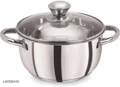 Stainless Steel Dealdona  Dutch Oven with Lid (Non-Stick, Induction Bottom) - Silver (1 Litre Capacity)