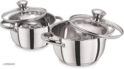 Set of 2 Stainless Steel Dutch Oven with Lid (Non-Stick, Induction Bottom) - Silver (1 Litre & 1.5 Litre Capacity)