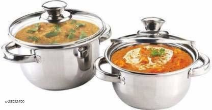 Set of 2 Stainless Steel Dutch Oven with Lid (Non-Stick, Induction Bottom) - Silver (1 Litre & 2  Litre Capacity)