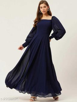 Blue Georgette Designer  Gown