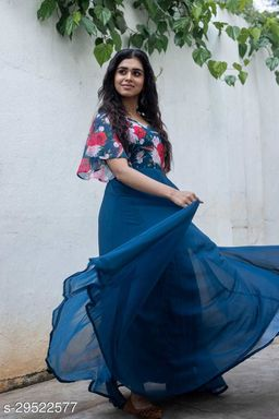 Blue Printed Georgette Gown