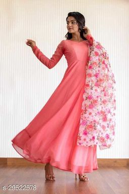 Demanding Pink  Colored Party Wear  Gown With Dupatta