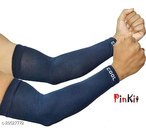 Ekshi Unisex Fingerless Cotton Tattoo Arm Sleeves, Protection Sleeves from Sun Tanning for Driving, Biking, Cycling For Men & Women (1 Pair) - Navy