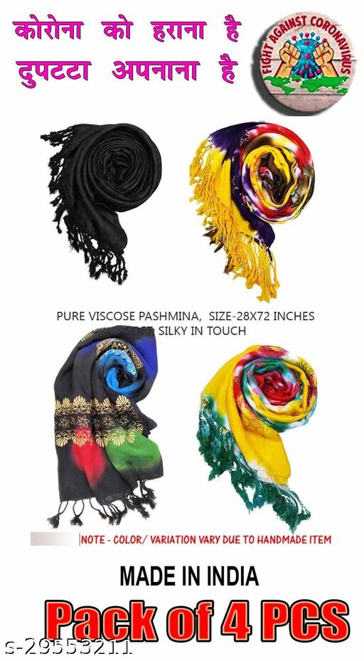 Beautiful Hina Scarf Combo offer 4 Pcs Viscose Stole Dupatta Size-28X72 inches, Floroscent in Color, Selling at Manufacturing Cost, Book Fast Pack 4 PCS, Limited Stocks, Clearance SALE, Hurry Up !!!