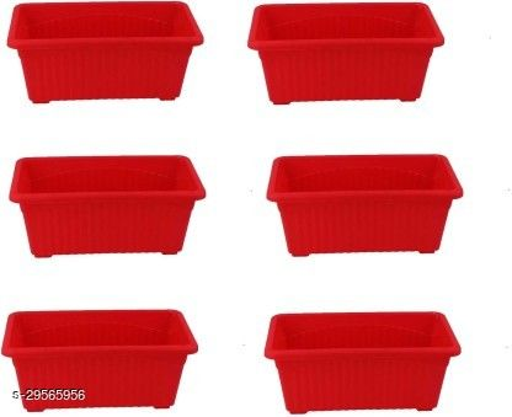 MorningVale Rectangular Plastic Pots for Plants, Window Planter, Red,(Set of 6)