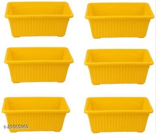 MorningVale Rectangular Plastic Pots for Plants, Window Planter, Yellow,(Set of 6)