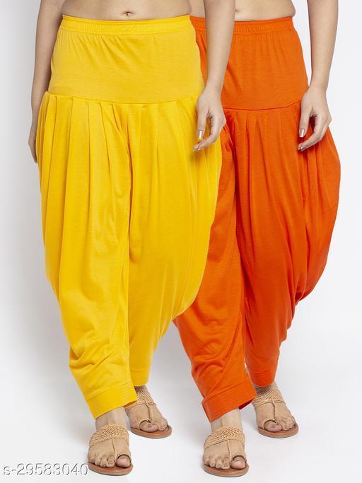 Women Yellow Orange Solid Salwar Modern Lycra
