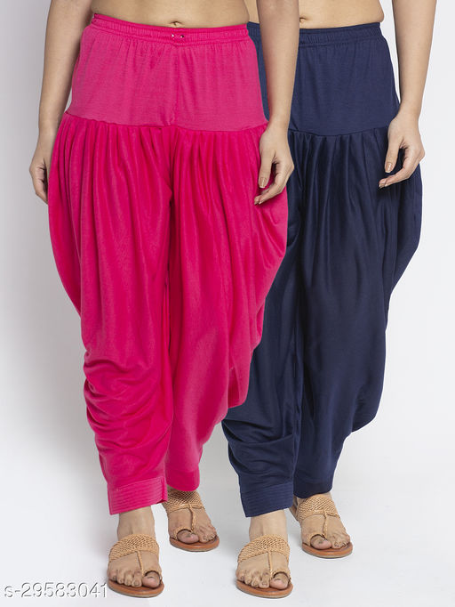 Women Pink Navy Solid Salwar Modern Lycra