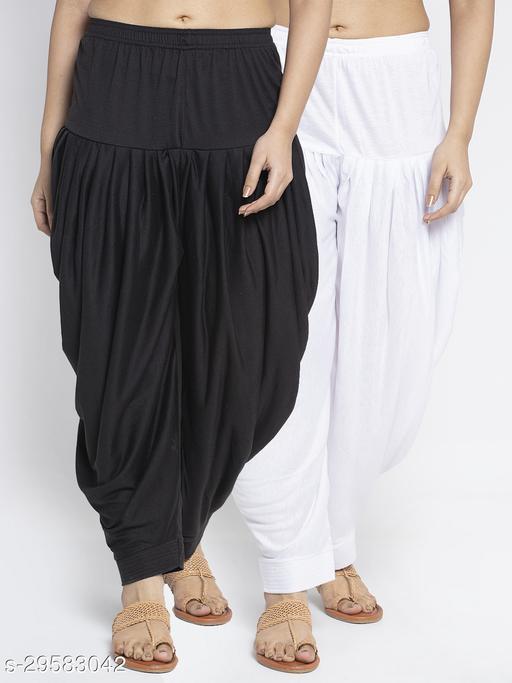 Women Black White Solid Salwar Modern Lycra