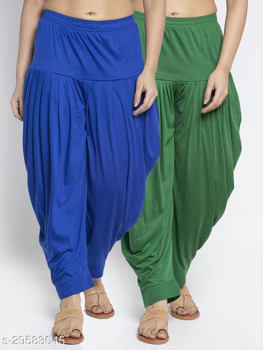 Women Blue Green Solid Salwar Modern Lycra