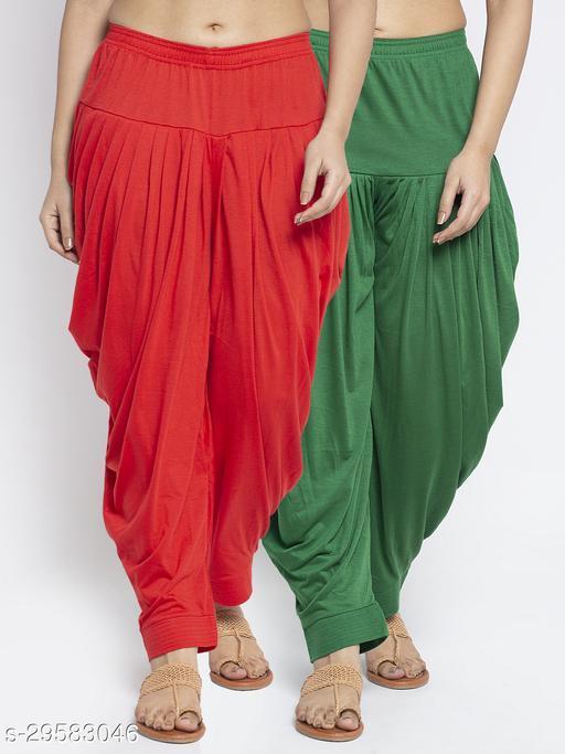 Women Red Green Solid Salwar Modern Lycra