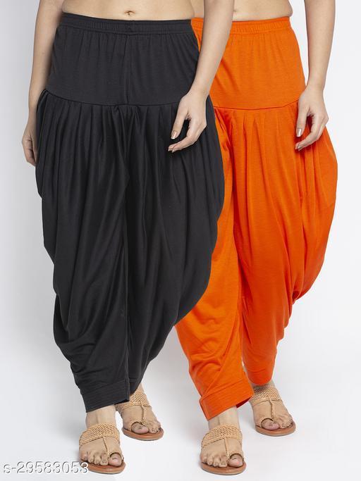 Women Black Orange Solid Salwar Modern Lycra