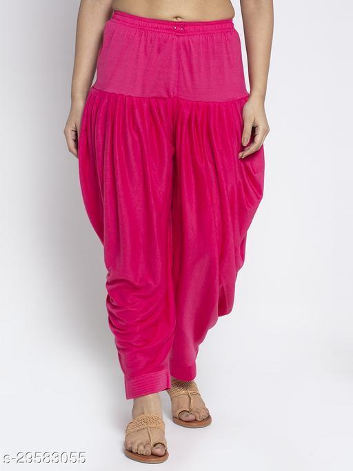 Women Pink Solid Salwar Modern Lycra